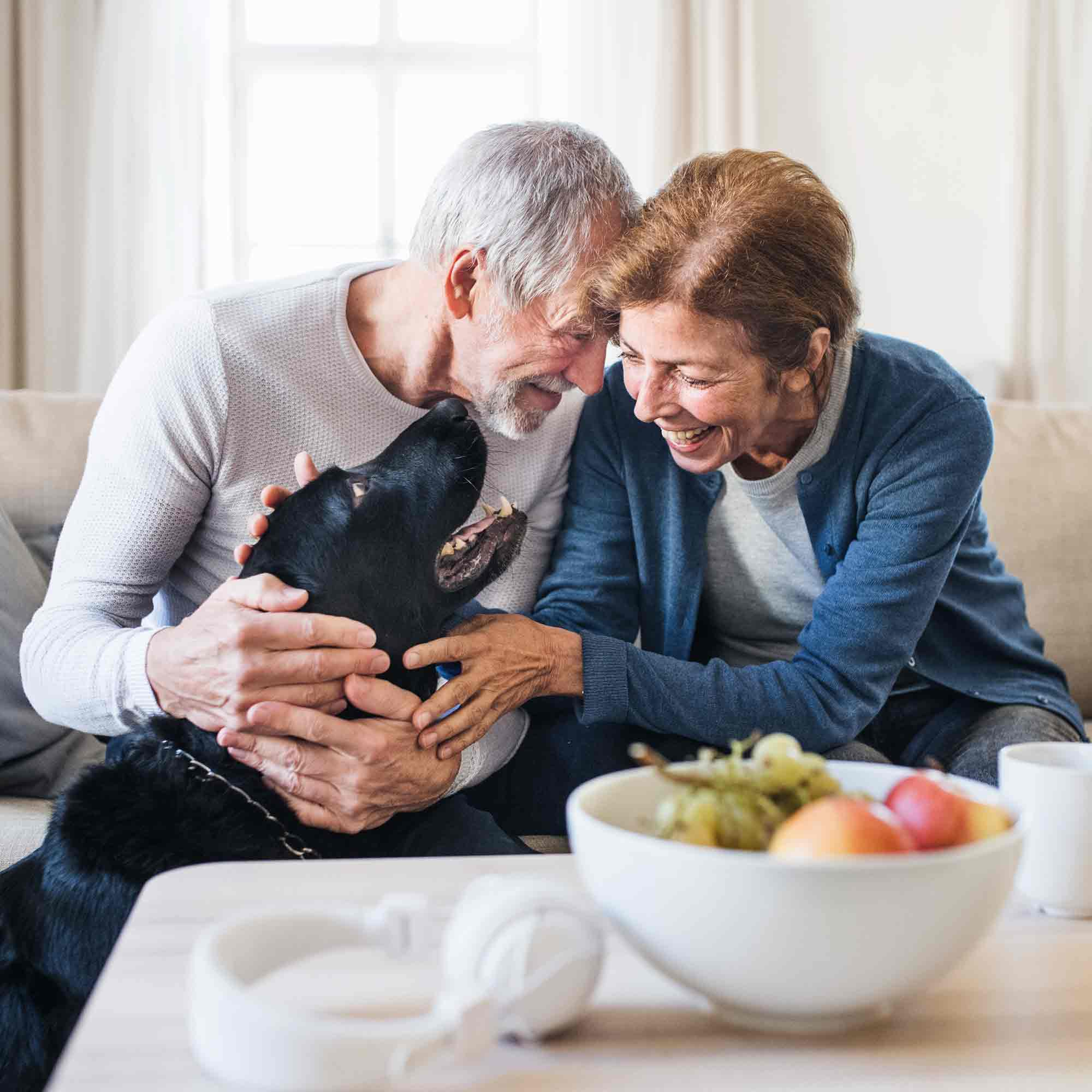 Assisted Living and Memory Care Couple With Dog - The Pinnacle of Southaven