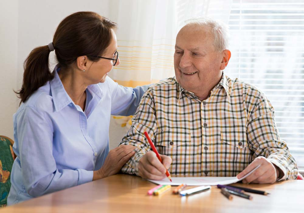 Memory Care Patient and Caretaker Drawing - The Pinnacle of Southaven